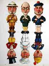 Metal Sign 6 Men 1910 French Children Whimsical Saucine Games Co A4 12x8 Alumini