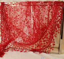 red or black  LACE TASSEL ROSE FLORAL KNIT MANTILLA TRIANGLE  SCARF SHAWL WRAP