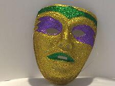 Mardi Grais Purple Gold Green Glitter Face Mask Parade Costume Accessory