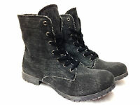 Ladies Womens Grip Sole Military Combat Style Lace Up Ankle Boots Shoe Size 3-8