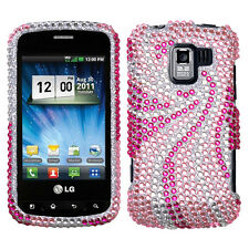 For LG Optimus Zip L75C Crystal Diamond BLING Case Phone Cover Pink Tail