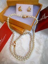 WEDDING SALE WHITE MAJORCA/MALLORCA PEARL SET 6MM GOLD F 3 PIECES faux majorica