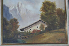 Vintage Swiss Alpine Scene of Chalet & Mountains Oil on Board Signed P.St. 56.
