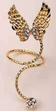 Gold Angel Wings Midi Ring Crystal Above Knuckle Mid Finger Fashion Jewelry RD34