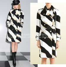 $2,700 GUCCI COAT SIGNATURE ZEBRA TIGER ANIMAL PRINT COTTON TRENCH sz IT 40 US 4