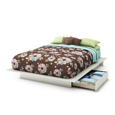 South Shore Step One Full/Queen Platform Bed (54/60'') with drawers, Pure White