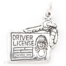 Girl's DRIVER'S LICENSE Key Chain sweet 16 Charm Pendant 925 Sterling Silver