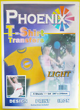 5 Pack of A4 Iron on T-Shirt TRANSFER PAPER for LIGHT fabrics For Inkjet Printer