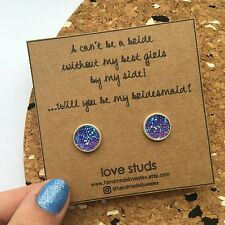 Will You Be My Bridesmaid? Gift Earrings Rustic Wedding Present Studs 12mm