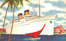 S.S.Matsonia,Twin-Stack Ocean Liner,Postcard,Matson Lines,Used,Honolulu,1961