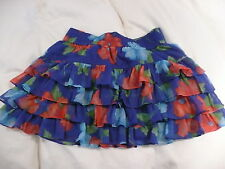 Hollister Girls Ladies Blue Red Green Floral Short Mini Skirt - Small BNWT