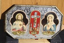 Vintage Jesus & Mary Convex Glass Metal Framed Pictures Cross Shrine 11 x 18