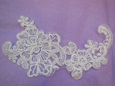 An ivory bridal floral lace Applique/ wedding lace motif for sale.Sold by piece