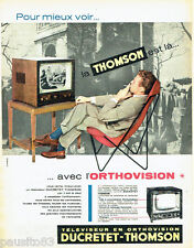 PUBLICITE ADVERTISING 125  1957   DUCRETET-THOMSON  téléviseur ORTHOVISION