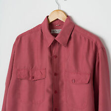 Vintage Plain Pink Pure Silk Shirt Size M Long Sleeve Button Down Oversized Top