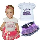 Baby Party Outfit Birthday Girls Top T-Shirt Tutu Skirt Tulle Dress Set SZ 0 1 2