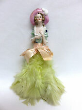 Rare Antique Luster Ware Half Doll Feather Duster ~ Made in Germany ~ Excellent