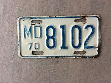 1970 MARYLAND MOTORCYCLE LICENSE PLATE Harley Indian Triumph BSA Honda Yamaha