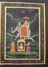 VINTAGE INDIAN PAINTING OF RAJASTHANI KING ON ELEPHANT-QUEEN IN PALKI/PALANQUIN
