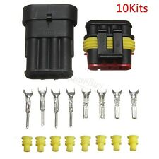 10 Knit 4 Pin Way Car Auto Bike Waterproof Sealed Electrical Wire Connector Plug