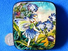 Russian HAND PAINTED LACQUER Box Chicory Flower Fairy of the Wayside SILANTYEVA