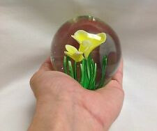 Vintage Hand Blown Floral Glass Paperweight Yellow Flower
