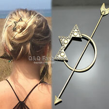 Victorian Gold Dot Triangle Hoop Arrow French Updo Hair Pin Clip Dress Stick