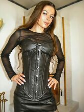 Vera Pelle Gothic corsetto corsetto NERO 4xl REAL LEATHER ledercorsage g111