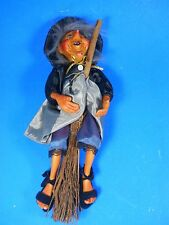 """KASMA flying Witch on Broomstick hanging hand crafted Porcelain Doll 13.5"""""""