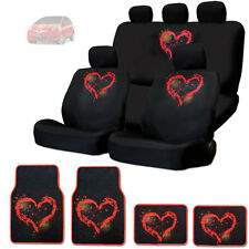 NEW RED HEART DESIGN FRONT AND REAR CAR SEAT COVERS FLOOR MATS SET FOR HONDA
