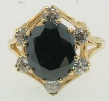 9ct Yellow Gold Sapphire & Simulated Diamond Fancy Cluster Ring (Size R) 14x16mm