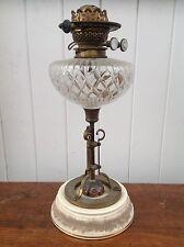 Antique victorian grande coupe cristal duplex lampe à huile brûleur en laiton & céramique base