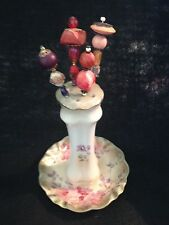 "VINTAGE ""RS"" PORCELAIN HAND PAINTED ROSES HAT PIN HOLDER INCLUDES 4 HATPINS"