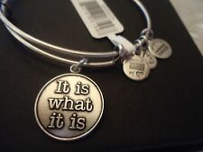 Alex and Ani  IT IS WHAT IT IS Russian Silver Charm Bangle New W/Tag Card & Box