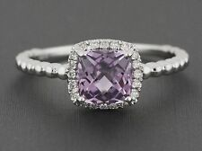 1.24ct Cushion Amethyst & Diamonds 14K White Gold Birthstone Halo Ring Size 6.5