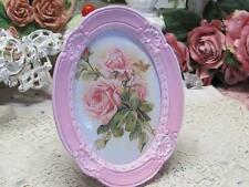 "PINK & WHITE OVAL TABLETOP PHOTO FRAME with ROSE PIC~RESIN~4""x6""~Cottage~Chic"