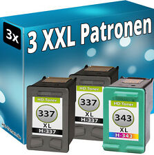 3er Set TINTE PATRONEN für HP337 XL + HP343 DeskJet 5940 6940 DRUCKER PATRONEN