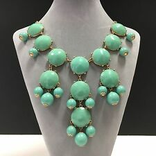 Signed J. CREW Big Jeweled Green Cab & Bead Statement Necklace Gold Tone B657j
