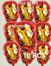 """10 PC IRON MAN BALLOONS BIRTHDAY PARTY FACE SHAPE DECORATIONS CENTER PIECES 18"""""""