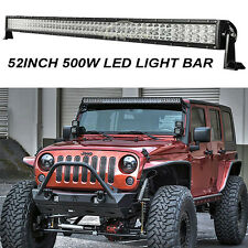 500W PHILIPS 52INCH LED WORK LIGHT BAR SPOT&FLOOD DRIVING FIT JEEP JK WRANGLER