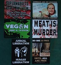 6 X STICKER SET - VEGAN - FESTIVAL - HEALTH - FOOD - ANIMAL LIBERATION - LOVE