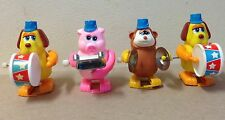 1970's windup vintage Tomy animal Band pig monkey dog drum cymbals xylophone lot