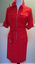 NWT MICHAEL KORS Rolled Sleeve Belted Zip Front Shirt Dress TRUE RED Sz M, $120