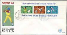 Netherlands Antilles 1984 Sports, Baseball M/S FDC First Day Cover #C26756