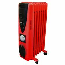 9 Fin 2000W 240V Electric Oil Filled Radiator Heater With 24 Hour Timer - RED