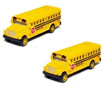 2 x mini Yellow School Bus Diecast Model CAR with pull back action 2.5 inch Long