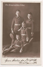 Vintage Postcard Sons of Crown Prince Wilhelm & Crown Princess Cecilie Prussia