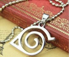 A Stainless Steel Naruto hidden leaf village logo Charm Dog Tag Chain Necklace