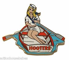 HOOTERS RESTAURANT NAVY GIRL IN ROWBOAT BOAT ON LAKE PADDLE MILITARY LAPEL PIN