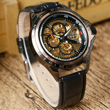 Modern Black Leather Band WINNER Circle Skeleton Dial Mechanical Wrist Watch Men
